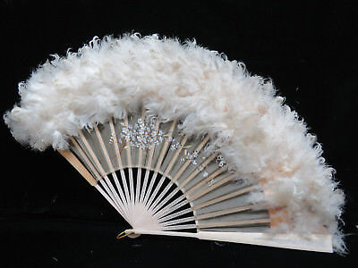 """Antique Ostrich Feather & Hand Painted Silk Fan w/ Carved Wood Handle  13 1/3"""""""