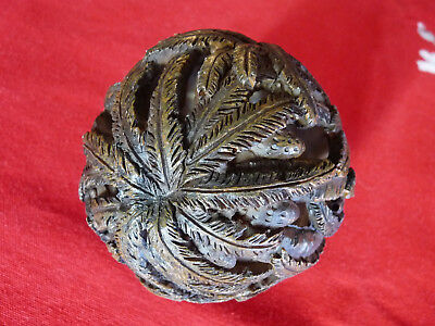 EARLY Antique Intricately CARVED Folk Art Coconut Shell, Treen