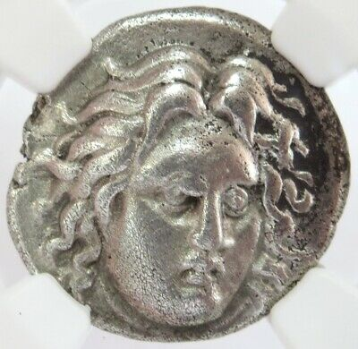c 300-250 BC SILVER DIDRACHM CARIA ISLE OF RHODES HELIOS NGC EXTREMELY FINE 4/3