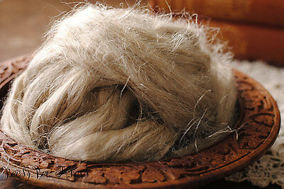 LINEN FLAX Unbleched Combed Top Felting Spinning Cellulose Vegan Plant Fiber 4oz