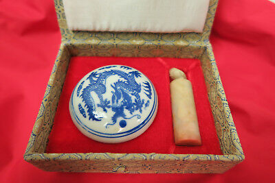 Chinese Carved Stone Stamp Seal w/ Red Ink Paste Blue Dragon Ceramic Bowl + Lid