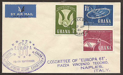GHANA. 1959. BELGRADE SET. 1st AFRICAN STAMP EXHIBITION AIR MAIL COVER TO ITALY.