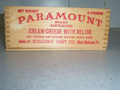 Vintage Paramount Cream Cheese W/relish Wood Box, Rosedale Dairy New Berlin Pa.