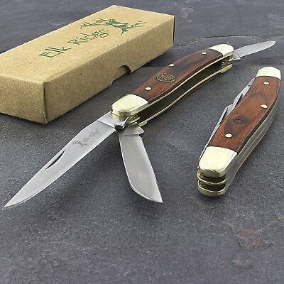 "6.25"" ELK RIDGE STOCKMAN FOLDING POCKET KNIFE WOOD HANDLE Gentleman Folder"