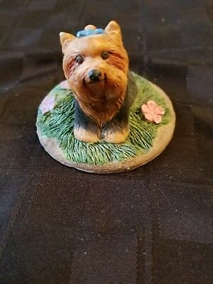 Charmstone Hand Painted Cold Cast Marble Terrior Dog by Earl Sherwan