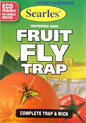 FLYTRAP Searles WITH WICK PROFESSIONAL FRUIT FLY WASP CATCHER YELLOW TRAP