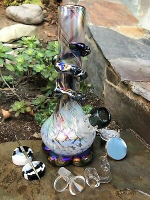 "10"" soft glass hookah bong DabRig w/Black Claw Herb Bowl,Tool,Container,Grinder"