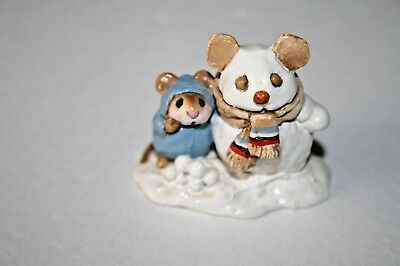 Wee Forest Folk M84 SNOWMOUSE AND FRIEND Mice WFF mouse 1982 miniature snowman