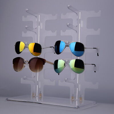 2 Row 10 Pairs Sunglasses Glasses Rack Holder Frame Display Stand Transparent cr