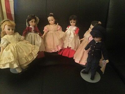 Vintage Madame Alexander Dolls Lot Of 6 With Stands Amy, Jo, Marme, Beth, Laurie