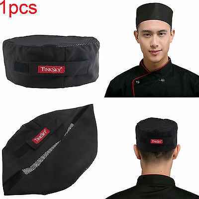 TINKSKY One Size Black Adjustable Strap Catering Skull Cap Chefs Hat Mesh Top