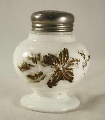 Opaque White Mold Blown Glass Footed Ball Shape Salt Shaker Gilt Decoration