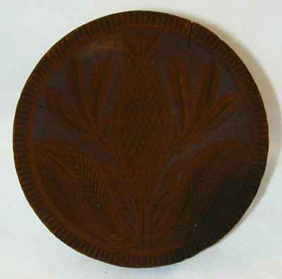 Antique Lathe Turned Carved Wood Butter Print Stylized Pineapple Plant & Fruit