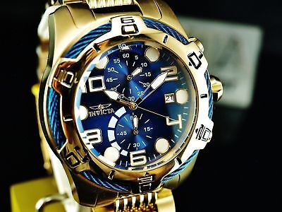 NEW Invicta Men's 50mm Bolt Chronograph Blue Dial 18K GP Stainless Steel Watch