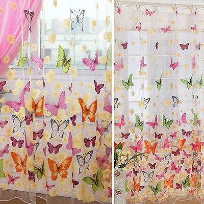 Butterfly Tulle Voile Home Door Window Balcony Curtains for Living Room Deft
