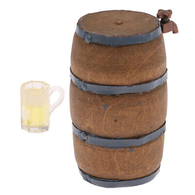 1/12th Scale Dollhouse Miniature Beer Barrel Beer Cask Wine Glass Home Decor