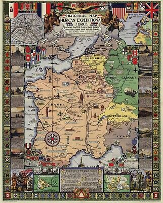 USA Historical Map American Expeditionary Force Poster Reproduction, Militaria