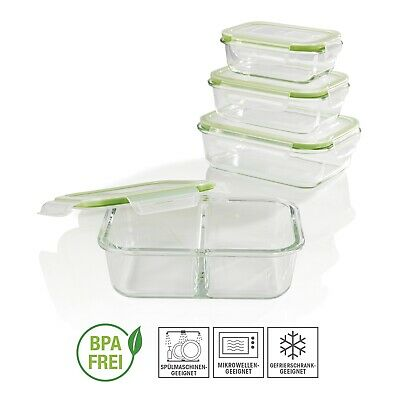 Frischhaltedosen 4er Set Glas Klick-It Gefrierdosen Lunchbox Brotdose Limegreen