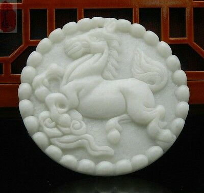 Natural Hand Carved Lantian Jade Horse Lucky Amulet Pendant+Free Rope Necklace