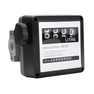 4 Digital Diesel Gas Fuel Oil Flow Meter Counter Gauge 3.5 Bar High Accuracy 1%