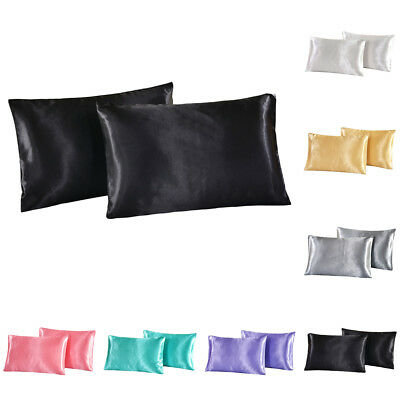 2X Silky Soft Satin Standard Queen King Bedding Pillow Case Cushion Covers
