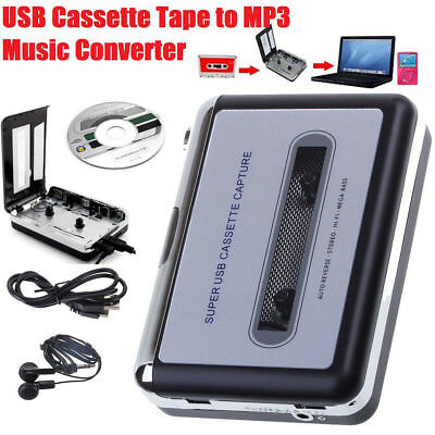Portable USB Cassette Tape to MP3 Converter Capture Stereo Audio Music Player
