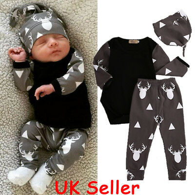 Newborn Baby Boys Girls Tops Romper Deer Pants Leggings Hat Outfits Set Clothes