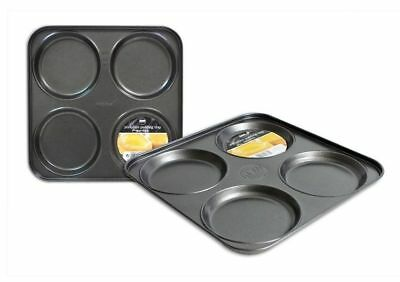 4 Cup Carbon Steel Non Stick Shallow Yorkshire Pudding Baking Pan Tin Tray 23x23