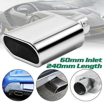 Universal 60mm Car Chrome 240mm Exhaust Straight Tail Pipe Tip Stainless Steel