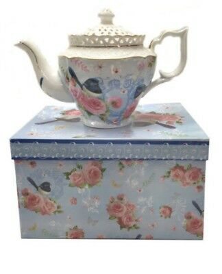 Blue Wren Fine Bone China Teapot In Gift box! NWIB!!