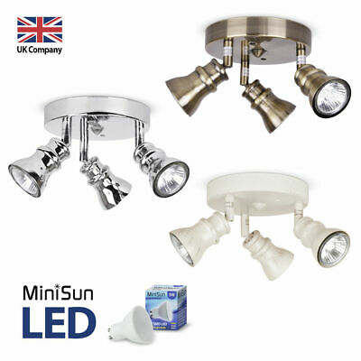 Vintage Style Chrome / Brass / Cream 3 Way LED GU10 Ceiling Spot Light Fittings