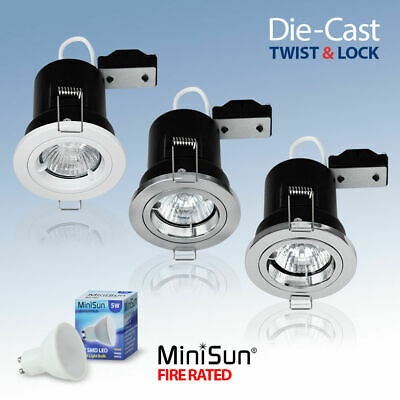 Fire Rated LED Die Cast Twist and Lock Recessed Ceiling Spotlights Downlights