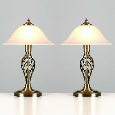 Pair of Antique Brass Table Lamps Designer Bedroom Lights Bedside Desk Lighting