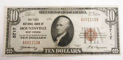 Series Of 1929 $10 Dollar U.S. Bill The First National Bank Of Moundsville W.V.