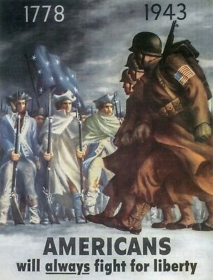 1943 AMERICANS WILL ALWAYS FIGHT FOR LIBERTY Vintage Style WW2 Poster - WWII US