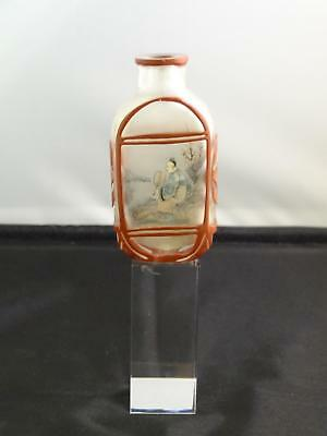 Chinese Interior Painted Glass Snuff Bottle, Coral Overlay, Circa 20th Century