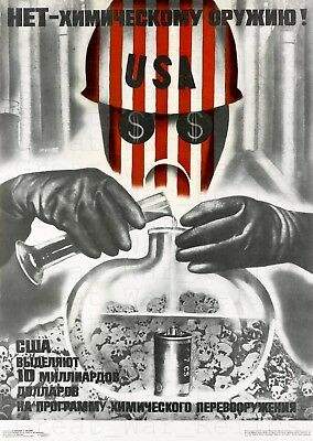 USA Russia Cold War Propaganda Poster Repro Chemical Weapons New - Soviet Union
