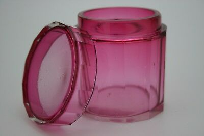 Antique Cranberry Glass Facet Cut Lidded Trinket Pot - Box