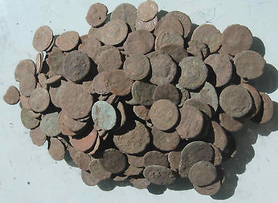 Lot of 10 Uncleaned and Unresearched Roman Bronze Coins. AE2-AE4. Price per 10it