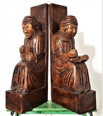 Architectural Salvage Solid Pair Antique French Hand Carved Wood Corbel Bracket