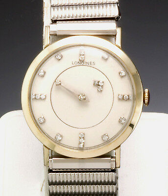 Longines Watch with Diamond Mystery Dial Hand Wind 17 Jewel Movt Vintage 1960s