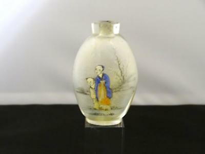 Antique Chinese Interior Painted Glass Snuff Bottle, Painted Figures, 1900/Later