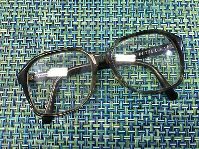 Vintage 70'S PATHWAY MENS GRAY THICK PLASTIC SQUARE EYEGLASSES HICKORY 145MM