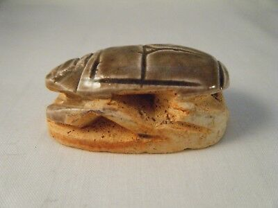 "Ceramic Scarab Beetle~Ancient Egyptian Lucky Amulet 2"" long"