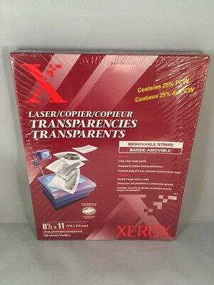 Xerox 3R3108 Removable Stripe Laser Copier Transparencies Clear (100 Sheets/Box)