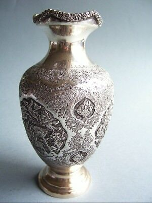 Vase Silber Isfahan Persian Handcrafted Signed Meistermarke