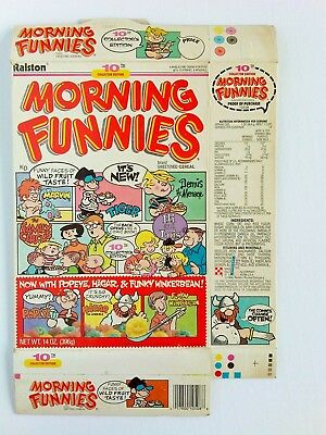Vintage 1989 Ralston Morning Funnies Cereal Box, 10 th Edition. Popeye Hagar