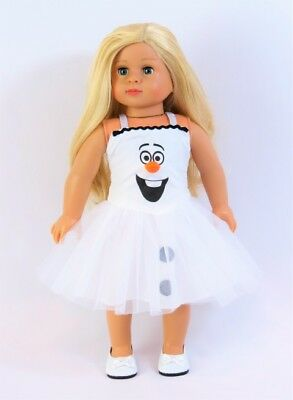 """Frozen Snowman Olaf Dress Halloween Costume Doll Clothes For 18"""" American Girl"""