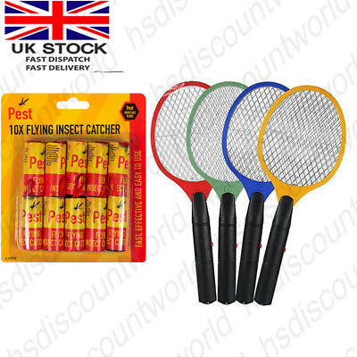 Large Fly Insect Racket Zapper Swatter & Flying Insect Catcher Pest Bug Wasp New