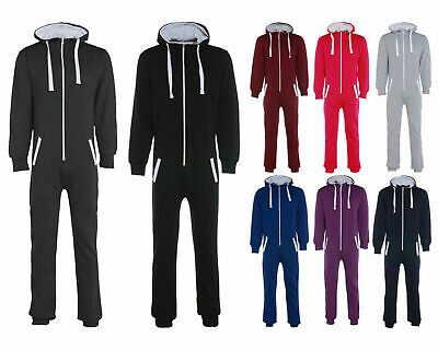 Kids 1Onesie Unisex Boys Girls Hooded Zip All In One Plain Jumpsuit Comfy